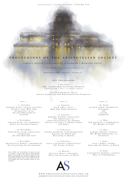 2013 Proceedings of the Aristotelian Society | Philosophy in London Since 1880