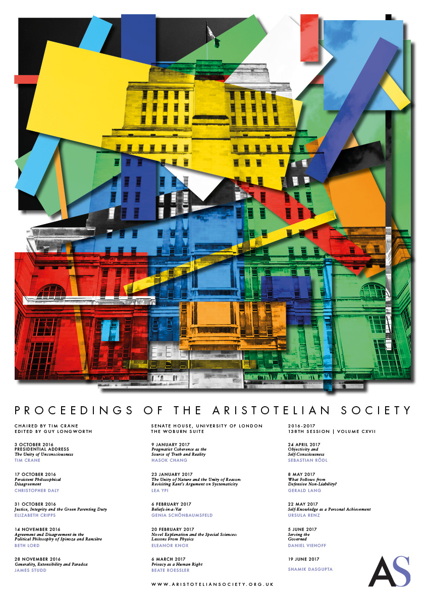 2016 Proceedings Programme | Proceedings of the Aristotelian Society | Philosophy in London Since 1880
